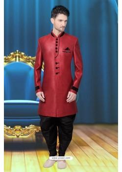 Designer Crimson Sherwani
