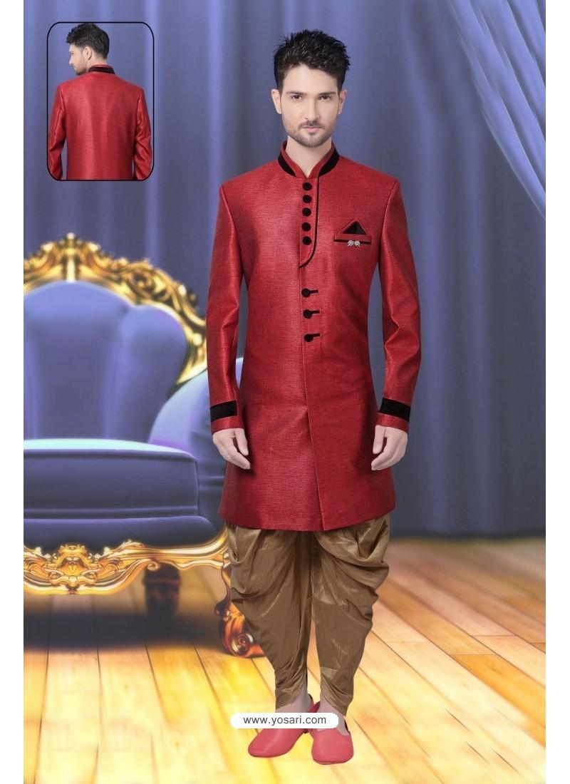 Eye Catching Crimson Sherwani