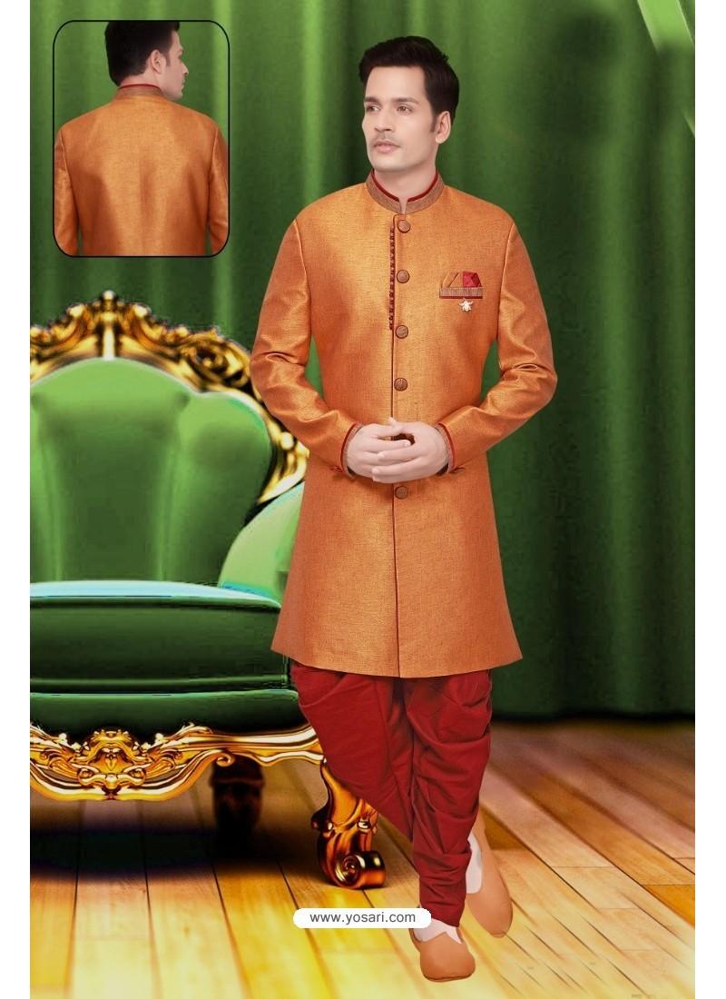 Awesome Orange Jute Sherwani