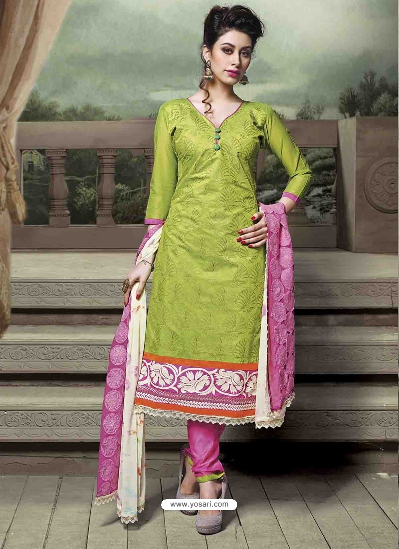 Green And Pink Chanderi Silk Salwar Kameez