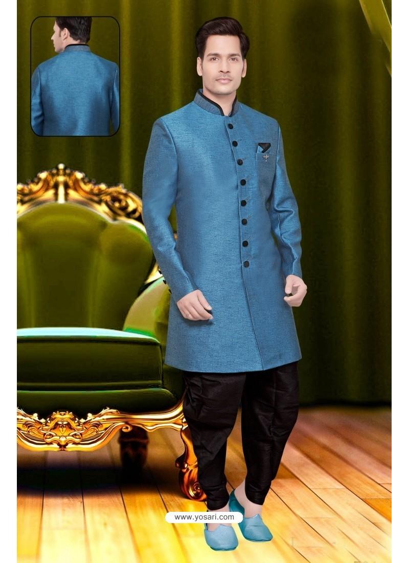 Designer Blue Jute Sherwani