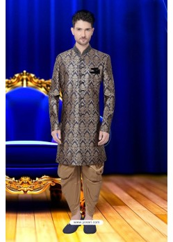 Awesome Navy Blue Banarasi Brocade Sherwani