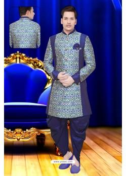 Navy Blue Jacquard Silk Sherwani