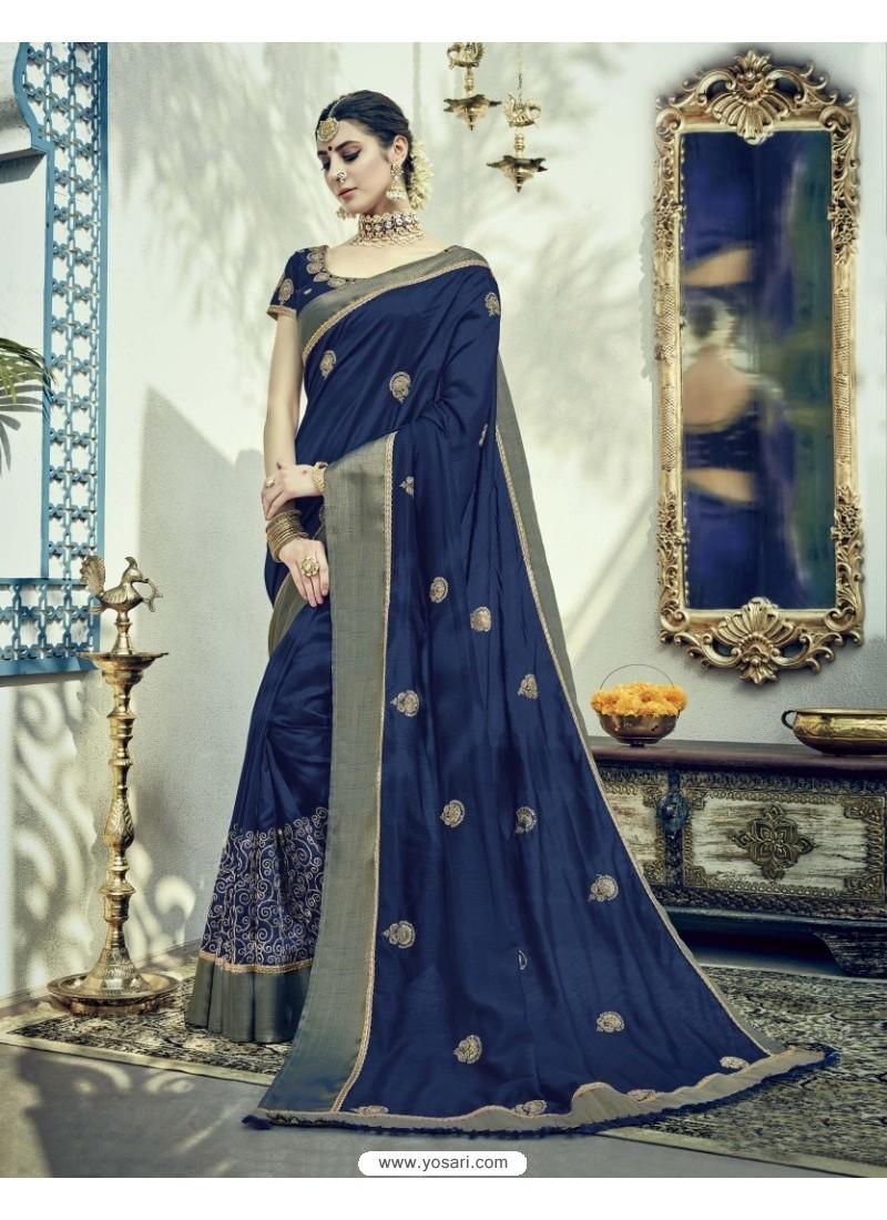 Incredible Navy Blue Dual Tone Silk Saree