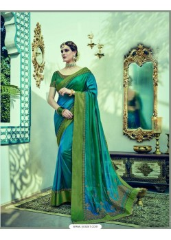 Magnificent Dark Green Dual Tone Silk Saree