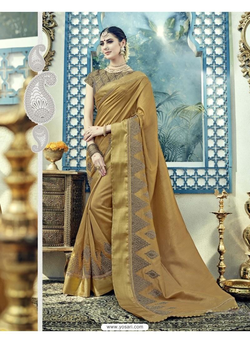 Dazzling Beige Dual Tone Silk Saree