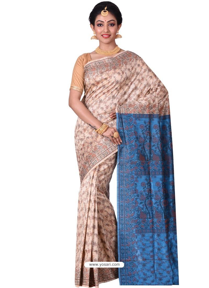 Incredible Beige Banarasi Silk Saree