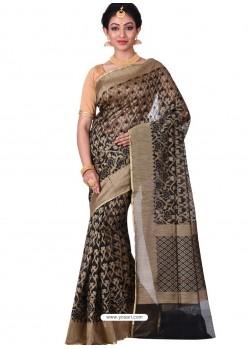 Groovy Black Banarasi Silk Saree