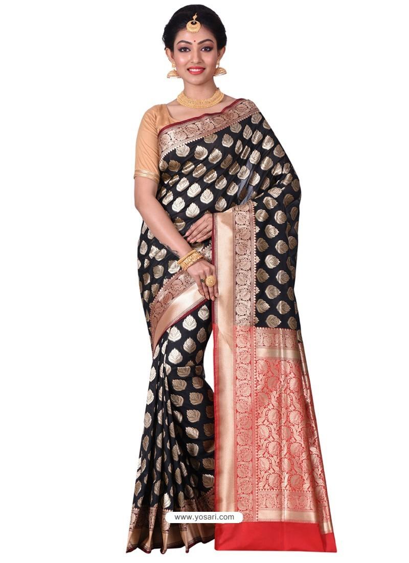 Magnificent Black Banarasi Silk Saree