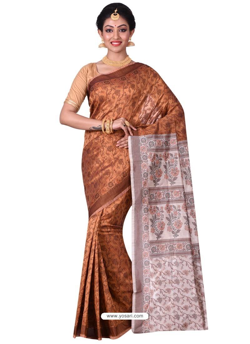 Modern Brown Banarasi Silk Saree