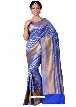 Fabulous Royal Blue Banarasi Silk Saree