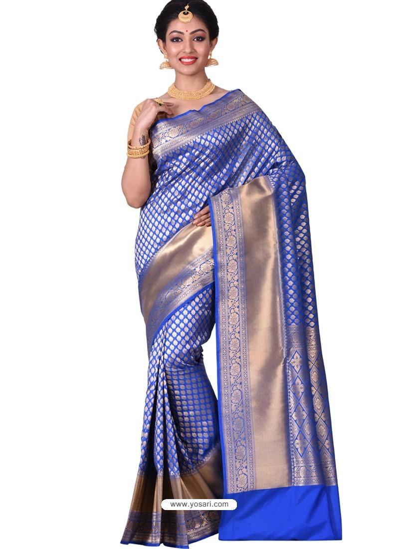 61540a51b23557 Buy Fabulous Royal Blue Banarasi Silk Saree | Wedding Sarees