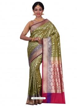Lovely Green Banarasi Silk Saree