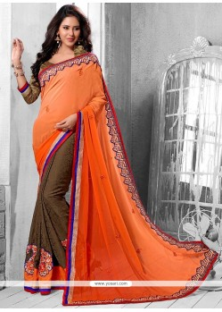 Lovely Orange And Brown Georgette Half And Half Saree
