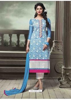 Sky Blue Chanderi Silk Salwar Kameez