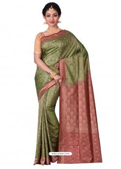 Decent Olive Green Banarasi Silk Saree