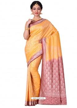 Imperial Mustard Banarasi Silk Saree