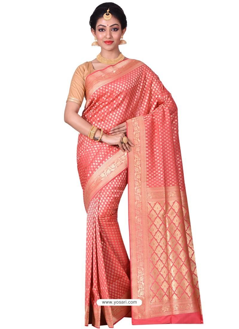 Astonishing Peach Banarasi Silk Saree