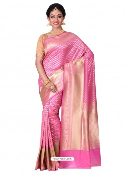 Stylish Pink Banarasi Silk Saree