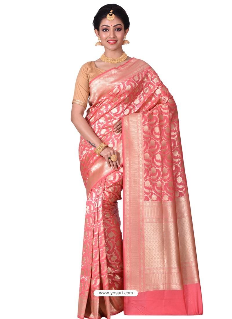 Trendy Peach Banarasi Silk Saree