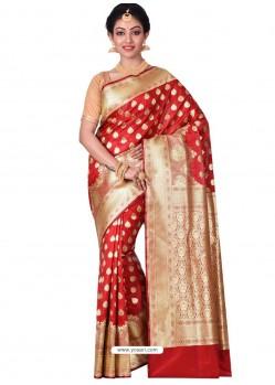 Superb Designer Red Banarasi Silk Saree