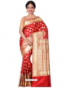 Perfect Red Banarasi Silk Saree