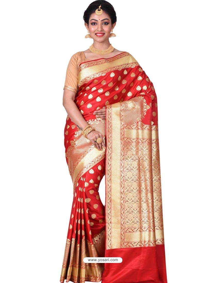 c756cca5f6 Buy Perfect Red Banarasi Silk Saree | Wedding Sarees