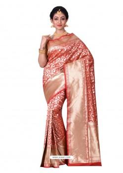 Observable Red Banarasi Silk Saree
