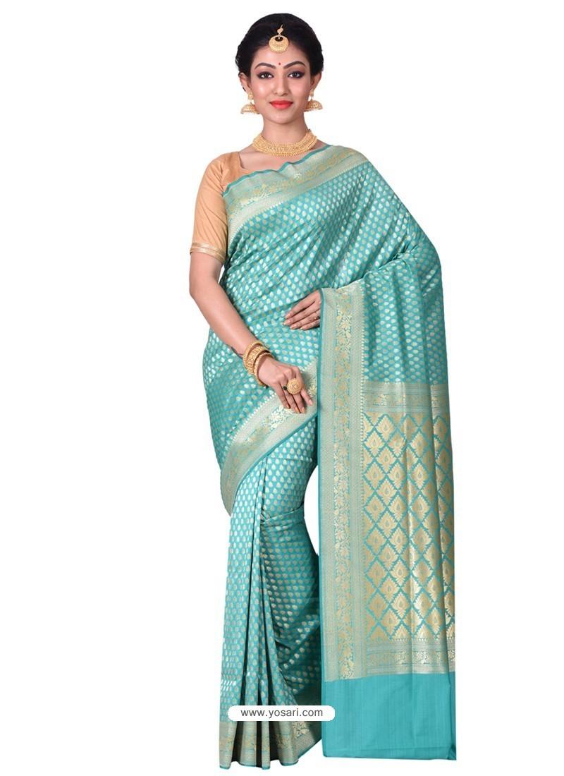 Excellent Sky Blue Banarasi Silk Saree