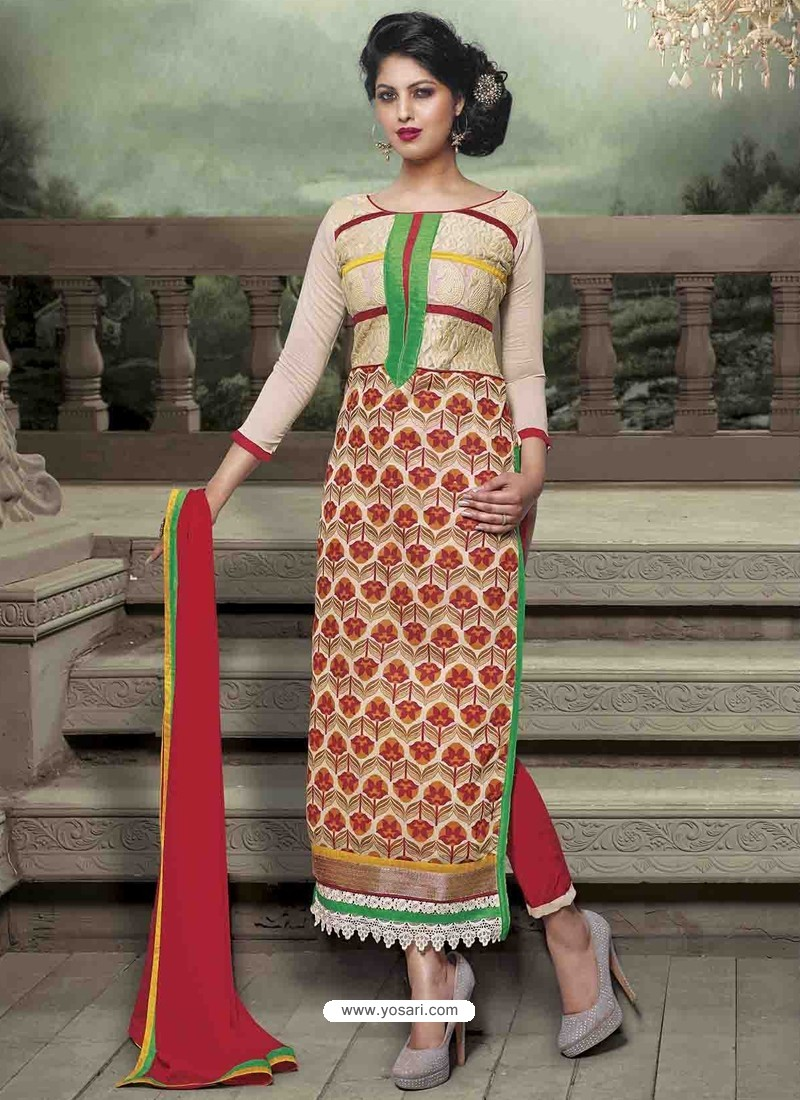Cream Chanderi Silk Salwar Kameez