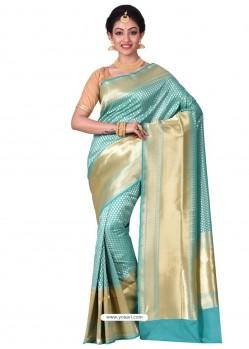Desirable Sky Blue Banarasi Silk Saree