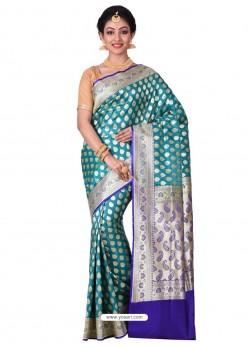 Phenomenal Teal Banarasi Silk Saree
