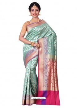 Perfect Sky Blue Banarasi Silk Saree