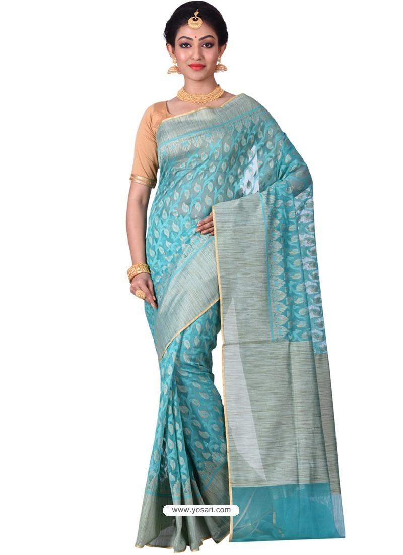 Turquoise Banarasi Silk Saree