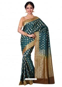 Excellent Tealblue Banarasi Silk Saree