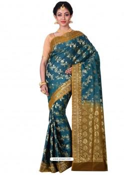 Desirable Tealblue Banarasi Silk Saree