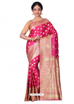 Phenomenal Fuchsia Banarasi Silk Saree