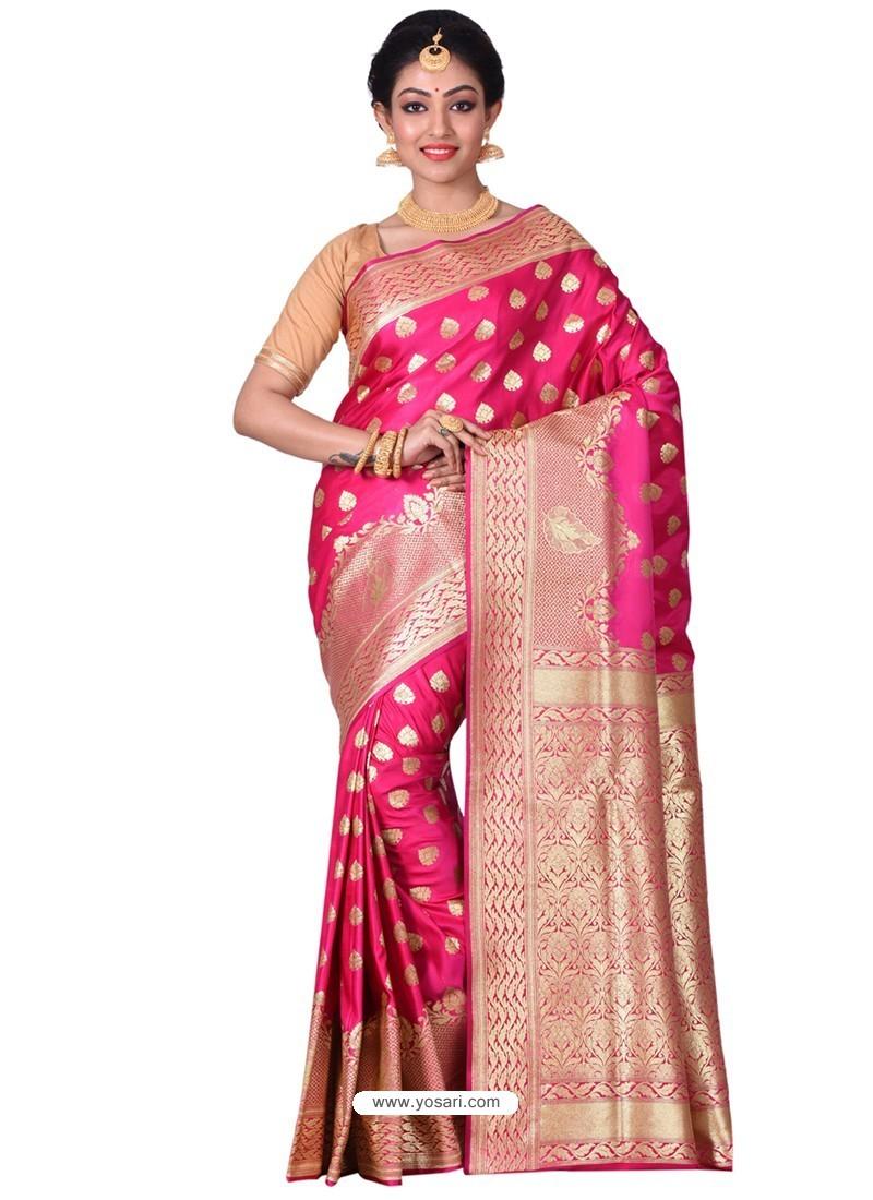 Phenomenal Fuchsia Banarasi Silk Saree