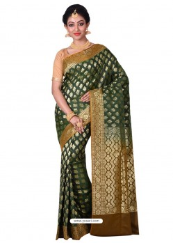 Markable Dark Green Banarasi Silk Saree