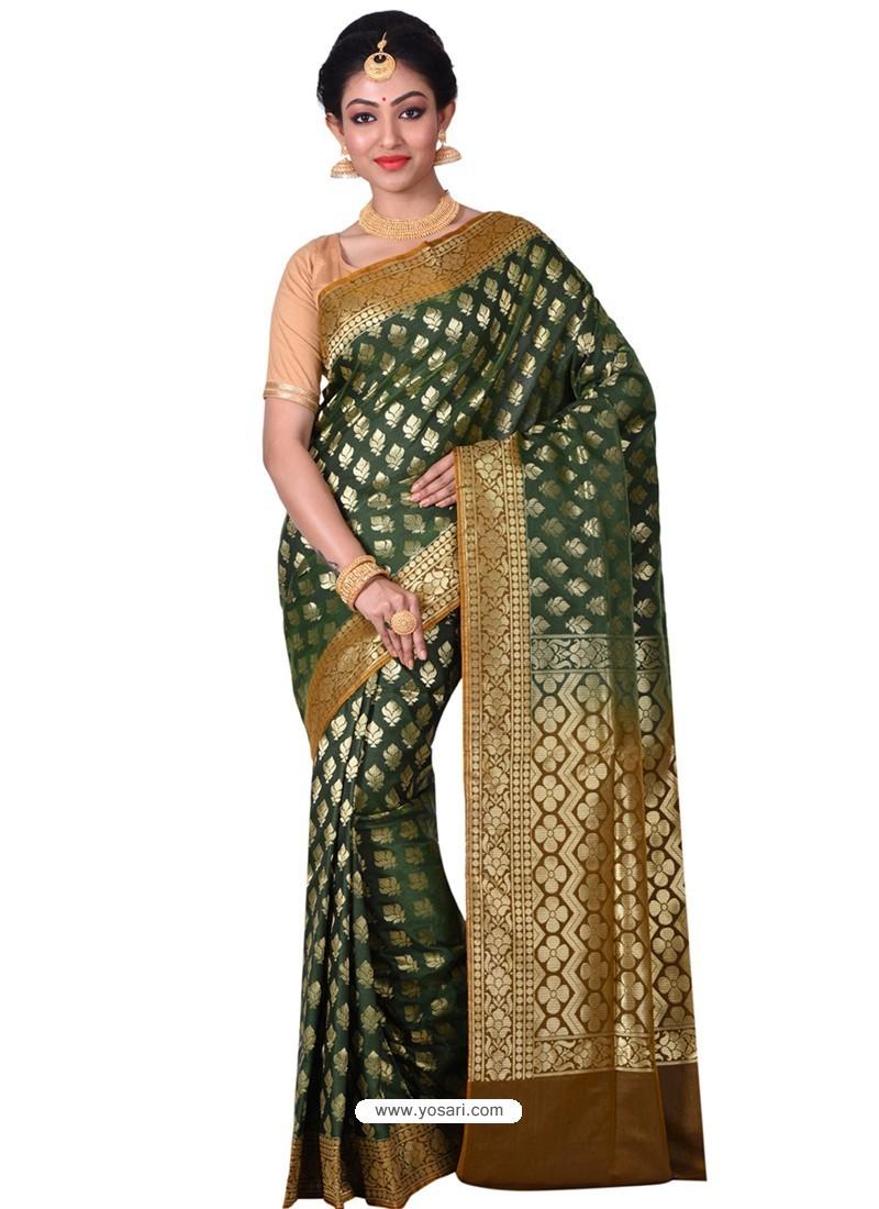 Markable Dark Green Banarasi Silk Saree