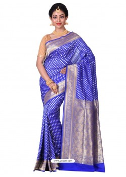 Affectionate Royal Blue Banarasi Silk Saree