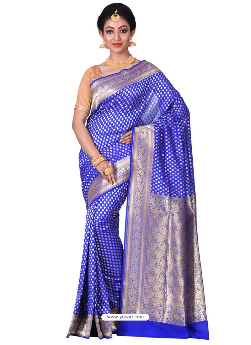 d2c29a2cf9bb6a Buy Affectionate Royal Blue Banarasi Silk Saree | Wedding Sarees