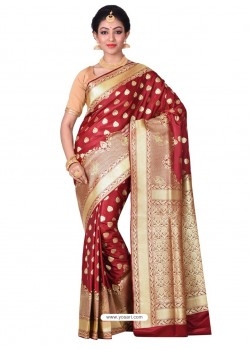 Adorable Maroon Banarasi Silk Saree