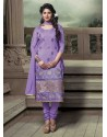 Purple Chanderi Silk Churidar Suit