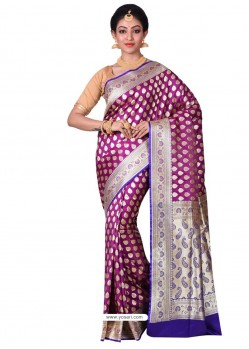 Perfect Purple Banarasi Silk Saree
