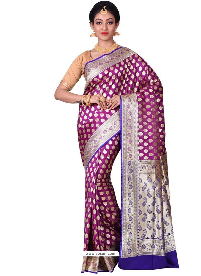 fb8224d4df Buy Perfect Purple Banarasi Silk Saree | Wedding Sarees