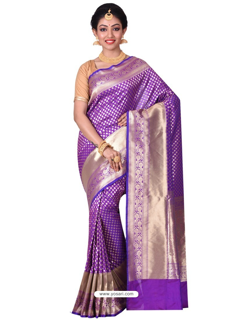 Genius Violet Banarasi Silk Saree