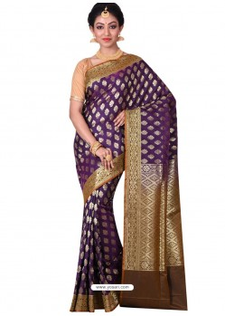 Splendid Purple Banarasi Silk Saree