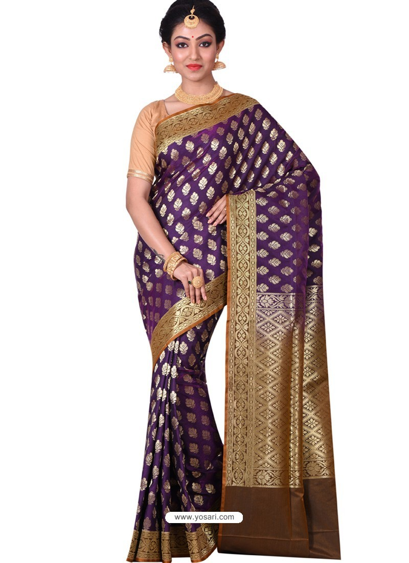 7645c377d359ca Buy Splendid Purple Banarasi Silk Saree