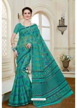 Incredible Teal Cotton Saree